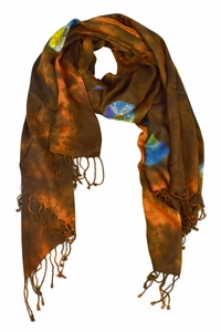 Soft and Silky Vibrant Colored Tie Dye Pashmina Shawl (Brown/Blue)