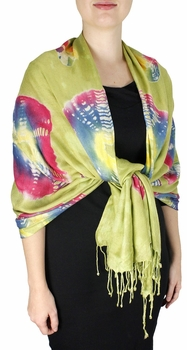 Soft and Silky Vibrant Colored Tie Dye Pashmina Shawl (Green/Red/Yellow)