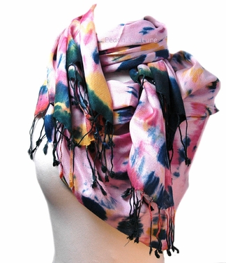 Soft and Silky Vibrant Colored Tie Dye Pashmina Shawl (Pink/Black)