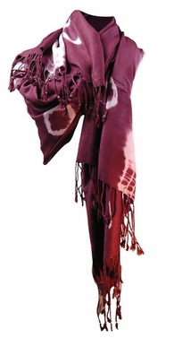 Soft and Silky Vibrant Colored Tie Dye Pashmina Shawl (Merlot)