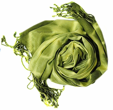 Soft and Silky Vibrant Colored Tie Dye Pashmina Shawl (Olive)