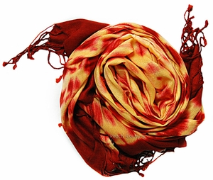 Soft and Silky Vibrant Colored Tie Dye Pashmina Shawl (Orange/Dark Red)