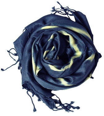 Soft and Silky Vibrant Colored Tie Dye Pashmina Shawl (White/Navy)