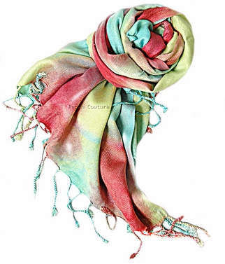 Soft and Silky Vibrant Colored Tie Dye Pashmina Shawl (Coral/Aqua)