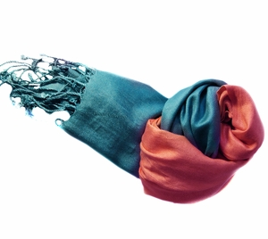 Soft and Silky Vibrant Colored Tie Dye Pashmina Shawl  (Blue/Pink)