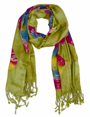 Soft and Silky Vibrant Colored Tie Dye Pashmina Shawl (Blue/Red/Yellow)