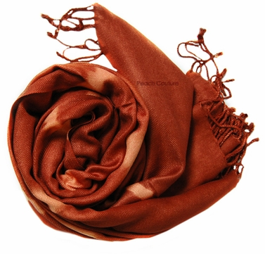Soft and Silky Vibrant Colored Tie Dye Pashmina Shawl (Brown)