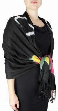 Soft and Silky Vibrant Colored Tie Dye Pashmina Shawl (Black/MultiColor)