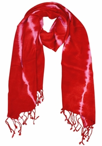 Soft and Silky Vibrant Colored Tie Dye Pashmina Shawl (Red/Pink)