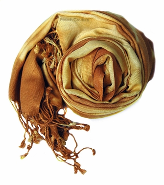 Soft and Silky Vibrant Colored Tie Dye Pashmina Shawl (Camel)