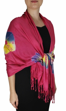 Soft and Silky Vibrant Colored Tie Dye Pashmina Shawl (Pink)