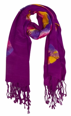 Soft and Silky Vibrant Colored Tie Dye Pashmina Shawl (Purple)