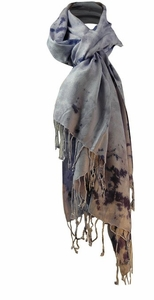 Soft and Silky Vibrant Colored Tie Dye Pashmina Shaw (Lavender)