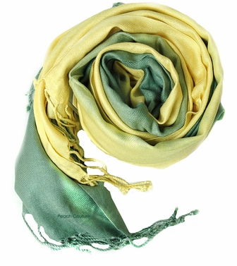 Soft and Silky Vibrant Colored Tie Dye Pashmina Shawl (Yellow/Green)