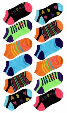 Toddler Girls Low Cut Ankle Crew Socks Value Pack of 12 (Ages 3 to 7) Assorted 1