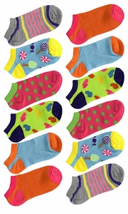 Toddler Girls Low Cut Ankle Crew Socks Value Pack of 12 (Ages 3 to 7) Assorted 2