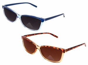 Translucent Retro Wayfarer Style Sunglasses with Polycarbon Lens ( 2 Blue and Cheetah)
