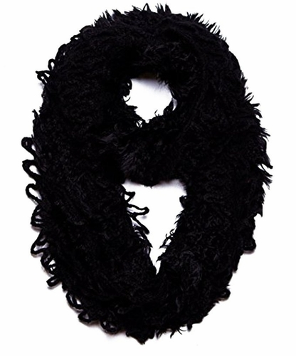 Trendy and Chic Plush Ruffle Infinity Loop Ebony Scarf