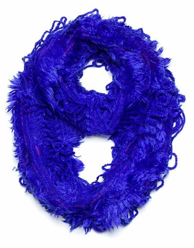 Trendy and Chic Plush Ruffle Infinity Loop Royal Blue Scarf