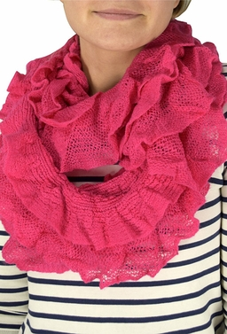 Trendy and Chic Ruffle Edge Thick Knitted Circle Infinity Loop Scarf (Fuchsia)