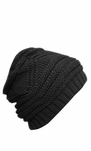 Trendy and Warm Zig Zag Crochet Knit Convertible Beanie Neck wear (Black)