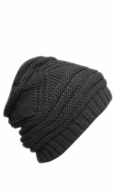 Trendy and Warm Zig Zag Crochet Knit Convertible Beanie Neck wear (Gray)