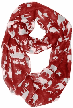 Trendy Lightweight Animal Print Artsy Elephant Loo Scarf (Red White)