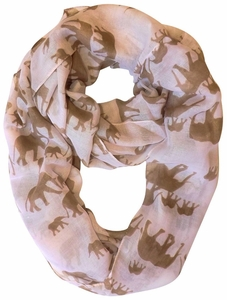 Trendy Lightweight Animal Print Artsy Elephant Loo Scarf (Tan)