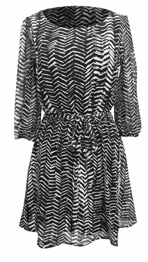 Trendy Mid-Length Chevron Inky Edged Print Dress (Black and White)
