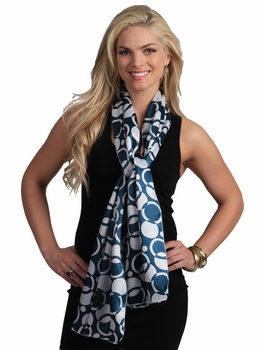 Trendy Silk Feel Teal & White Circle Pattern Scarf