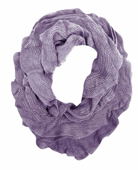 Trendy Solid Color Ruffle Edge Knitted Stretch Infinity Loop Scarf (Lavender)