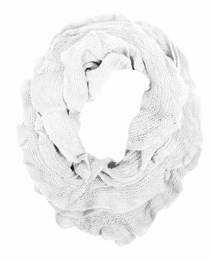 Trendy Solid Color Ruffle Edge Knitted Stretch Infinity Loop Scarf (White)