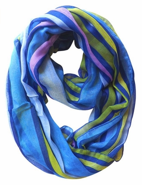 Trendy Striped Print Light and Soft Fashion Infinity Loop Scarf (Dark Blue)
