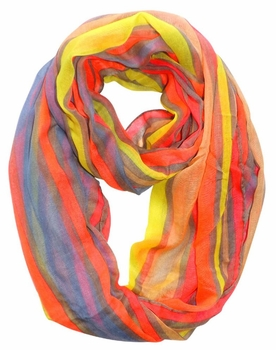 Trendy Striped Print Light and Soft Fashion Infinity Loop Scarf (Neon Pink)