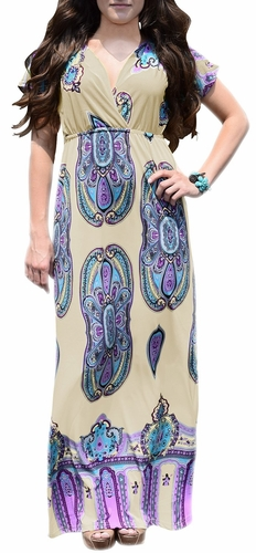 Tribal Aztec Printed V-Neck Clinched Waist Short Sleeve Maxi Dress (Off White)