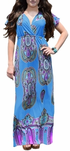 Tribal Aztec Printed V-Neck Clinched Waist Short Sleeve Maxi Dress (Sky Blue)