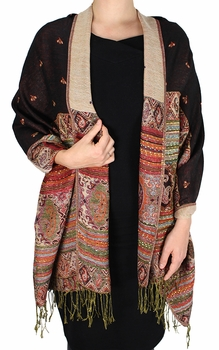 Tribal Design Reversible Pashmina Wrap Shawl Scarf (Black)