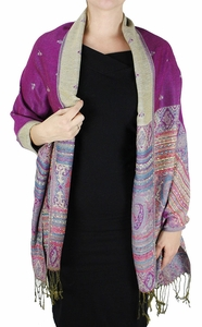 Tribal Design Reversible Pashmina Wrap Shawl Scarf (Fuchsia)