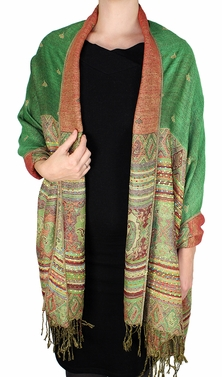Tribal Design Reversible Pashmina Wrap Shawl Scarf (Green)