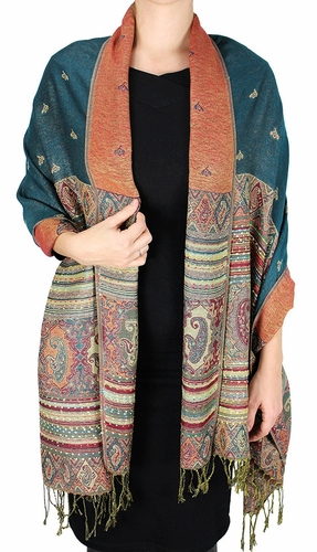 Tribal Design Reversible Pashmina Wrap Shawl Scarf (Teal)