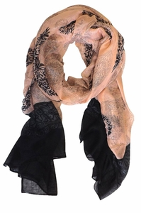 Tribal Floral Two Color Paisley Print Lightweight Shawl Scarf  (Peach/Black)