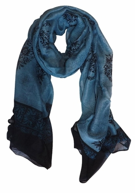 Tribal Floral Two Color Paisley Print Lightweight Shawl Scarf (Periwinkle/Black)