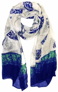 Tribal Floral Two Color Paisley Print Lightweight Shawl Scarf (Green/Blue)