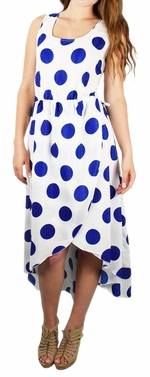 Tulip Hem Sleeveless High Low Vintage Polka Dot Airy Light Dress (White and Blue)
