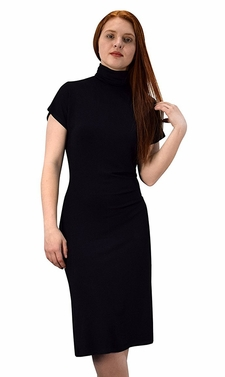 Turtle Neck Short Sleeve Midi Dress Black