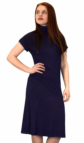 Turtle Neck Short Sleeve Midi Dress Navy