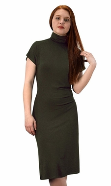 Turtle Neck Short Sleeve Midi Dress Olive