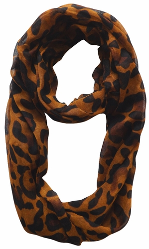 Two Tone Animal Print Infinity Loop Scarf (Brown)