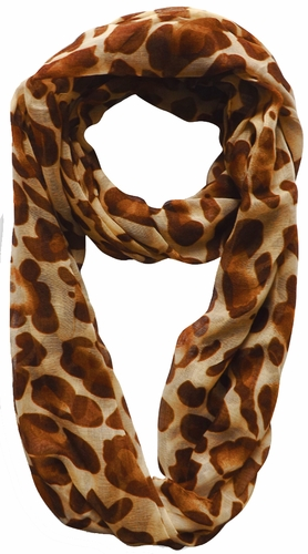 Two Tone Animal Print Infinity Loop Scarf (Rust)