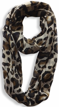 Two Tone Animal Print Infinity Loop Scarf (Tan)